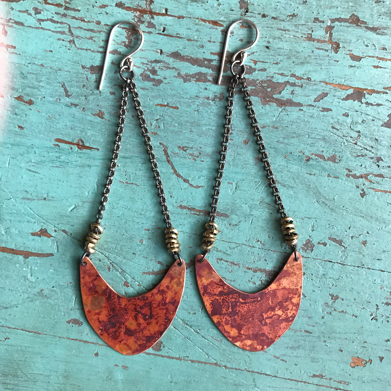 Medium Copper Pendulum Earrings with Brass Heishi Beads