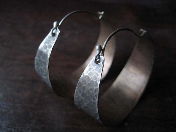 Medium, Wide Silver Hoop Earrings