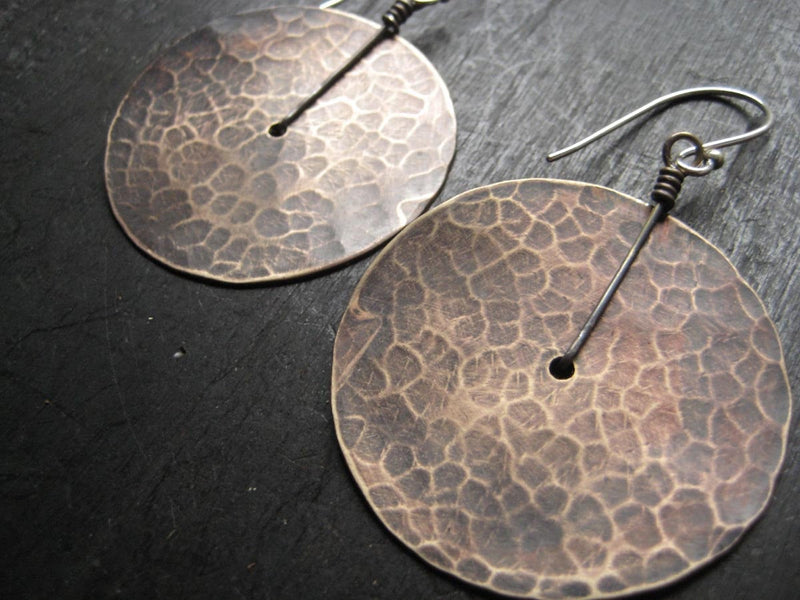 Large Brass Hammered Disk Earrings