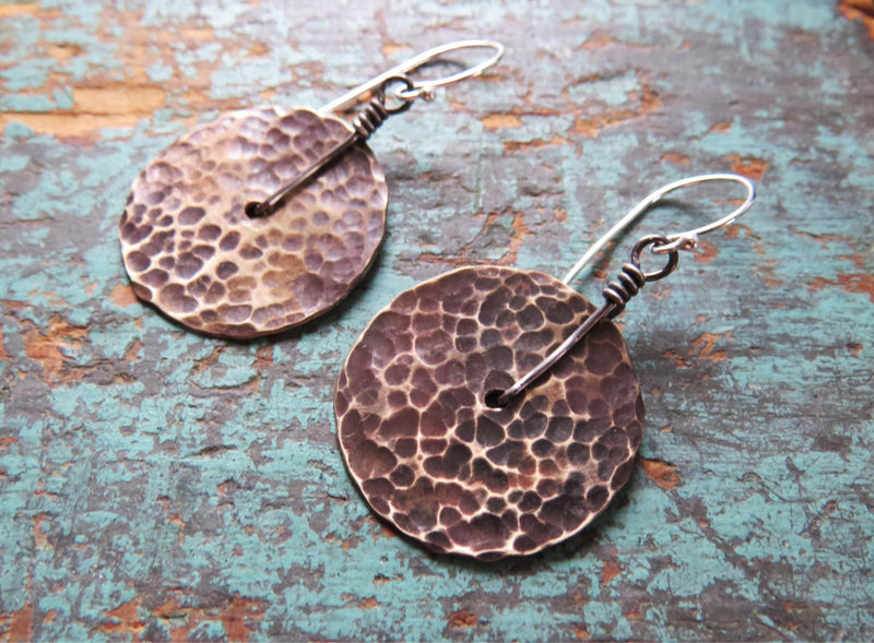 Small Brass Hammered Disk Earrings