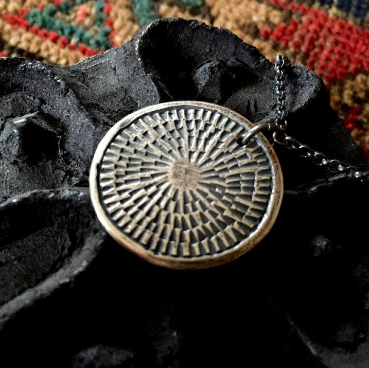 Carved Silver Medallion Necklace