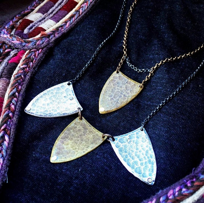 Hammered Brass Spear Necklace