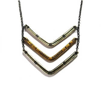 Carved Chevron Necklace - Sterling and Brass