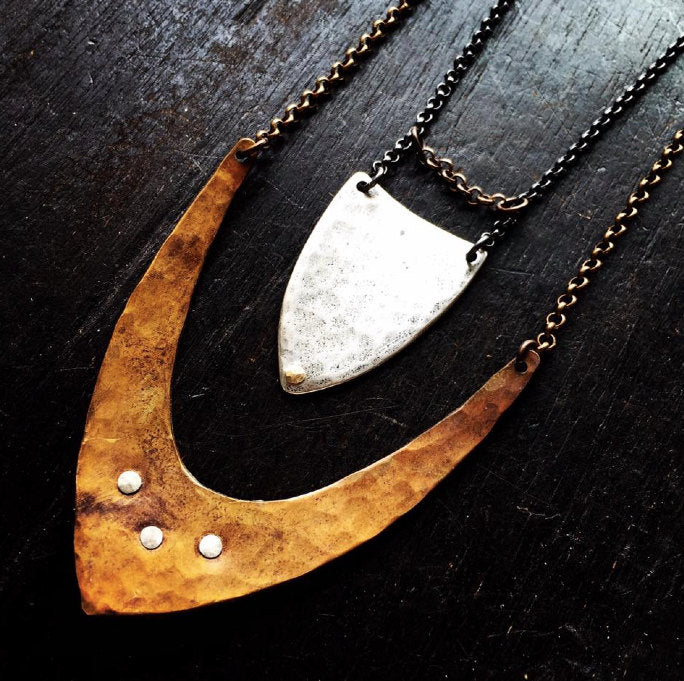 Hammered Silver Spear Necklace