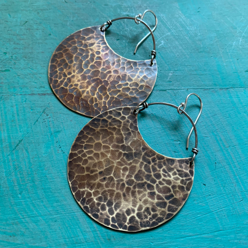 Large Brass Deep Crescent Earrings