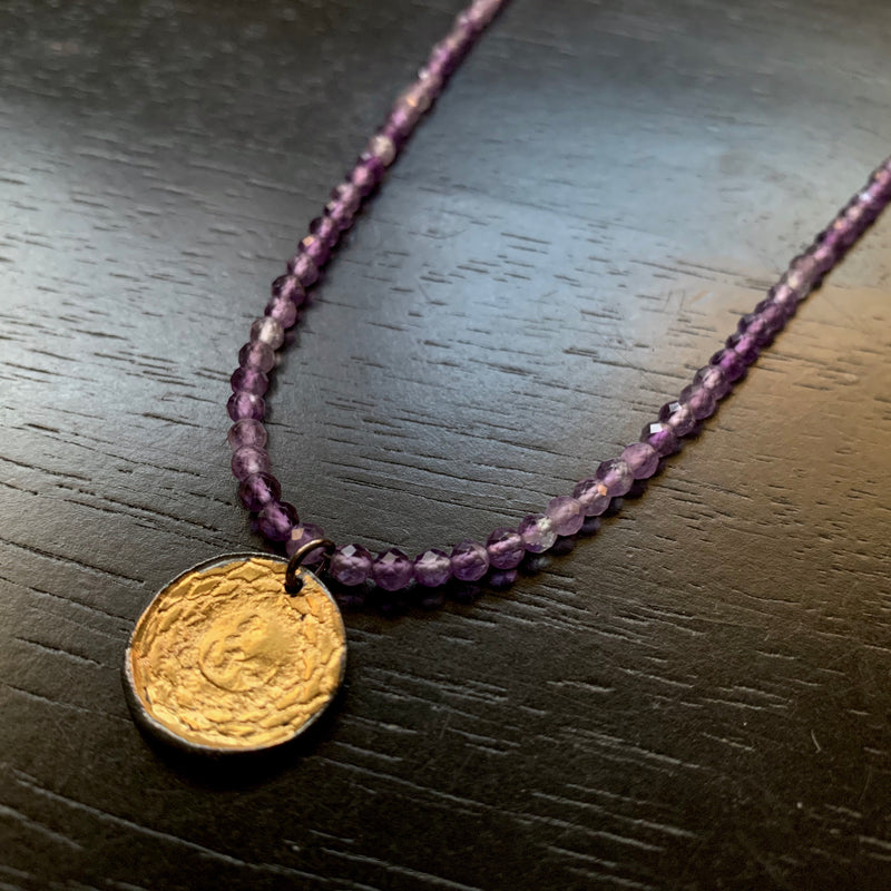 Gold Crown Chakra Pendant with Amethyst