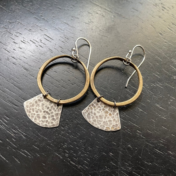 NEW! TINY Mezzaluna Earrings - Tiny BRASS hoop, hammered SILVER blade