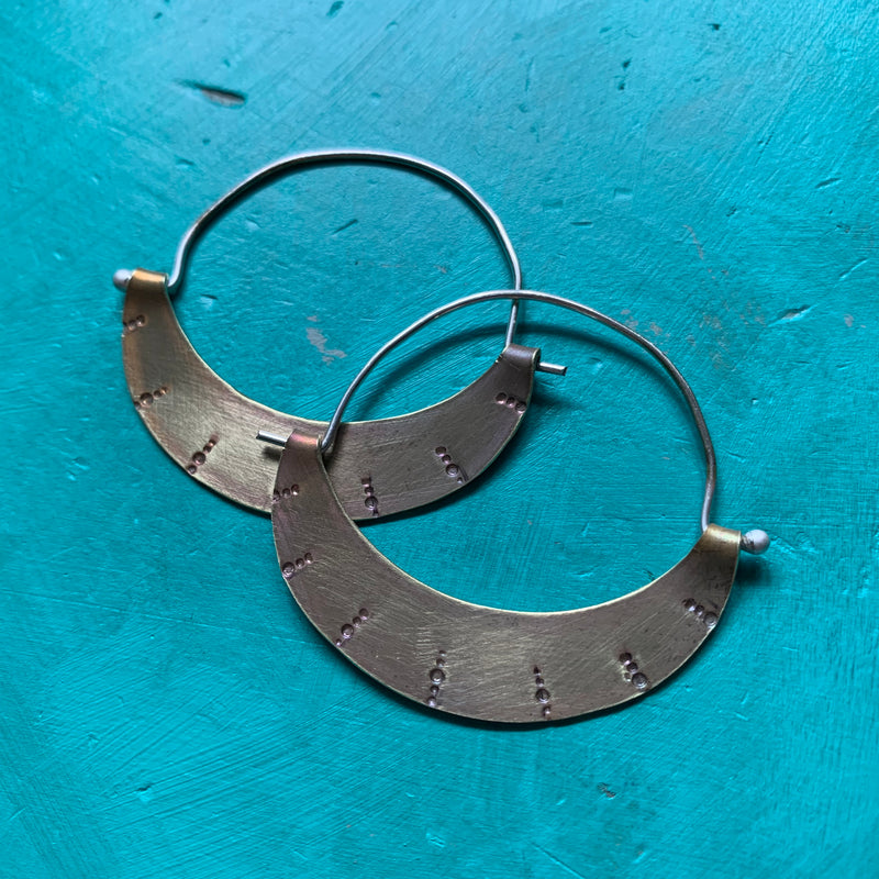 Stamped Crescent Hoops - Small, Light Brass