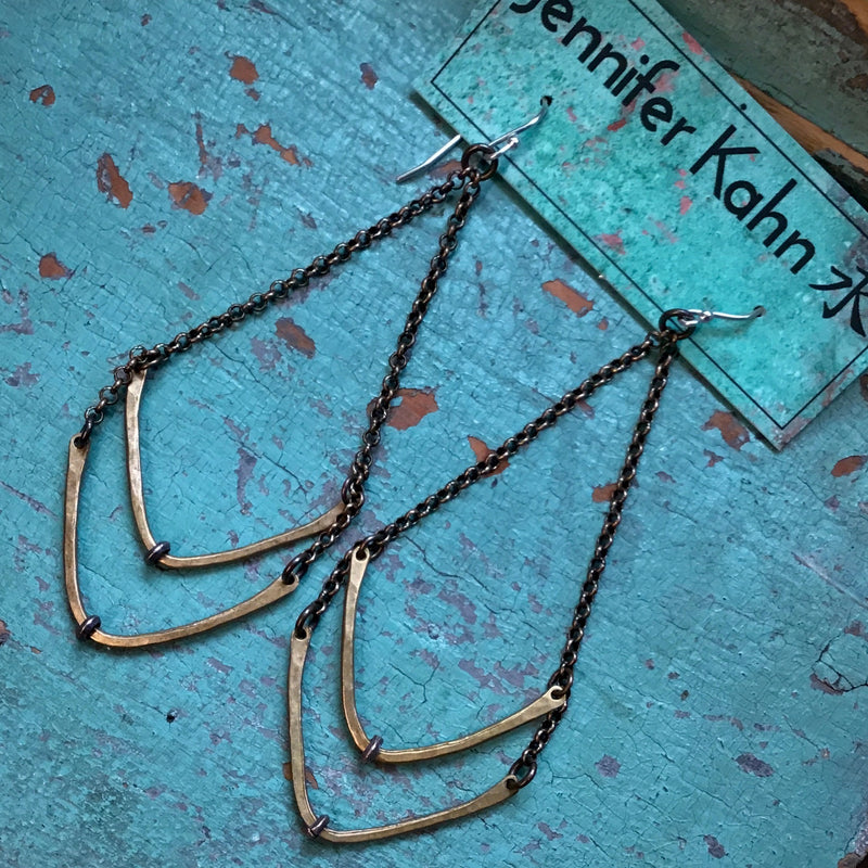 Forged Brass Chevron Earrings with sterling detail