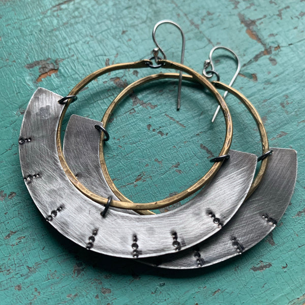 Mezzaluna Earrings - Medium brass hoop, thin stamped silver