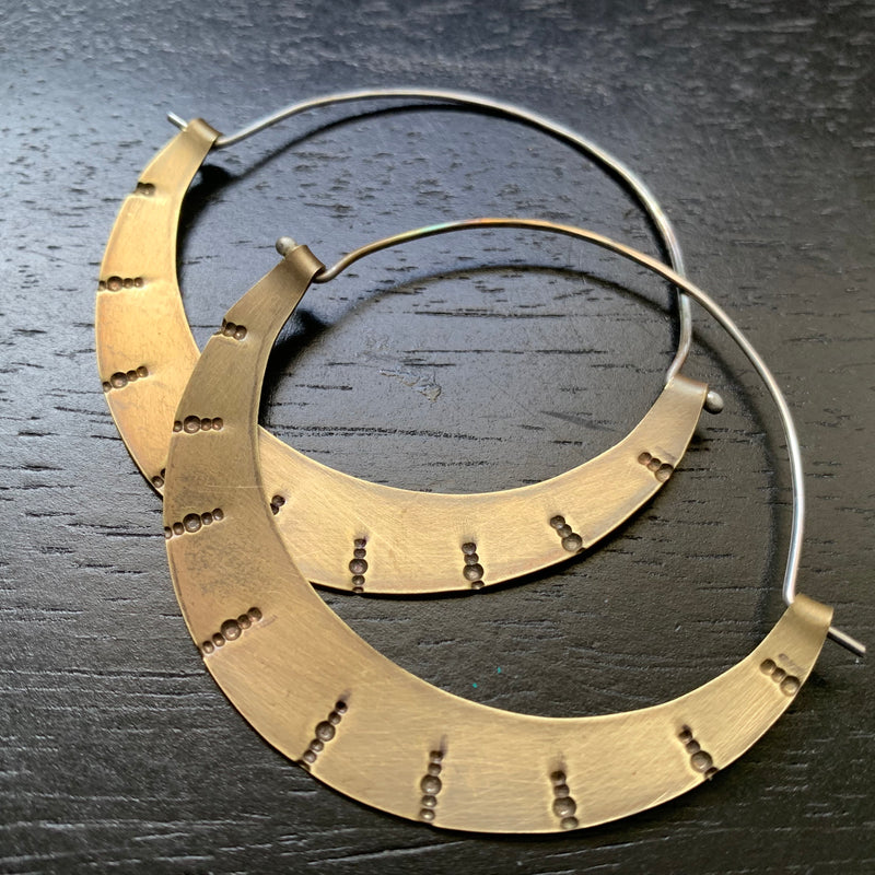 Stamped Brass Crescent Hoops - Large