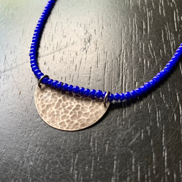 Silver Half Moon Necklace with Deep Blue Beads