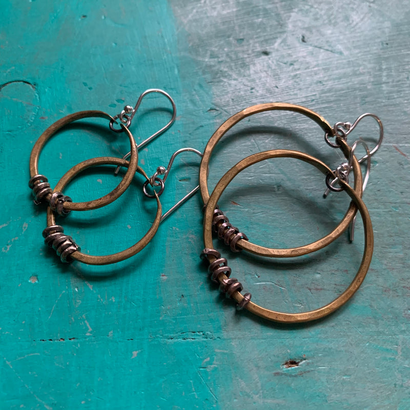 Tiny Brass Hoop Earrings with Silver Heishi
