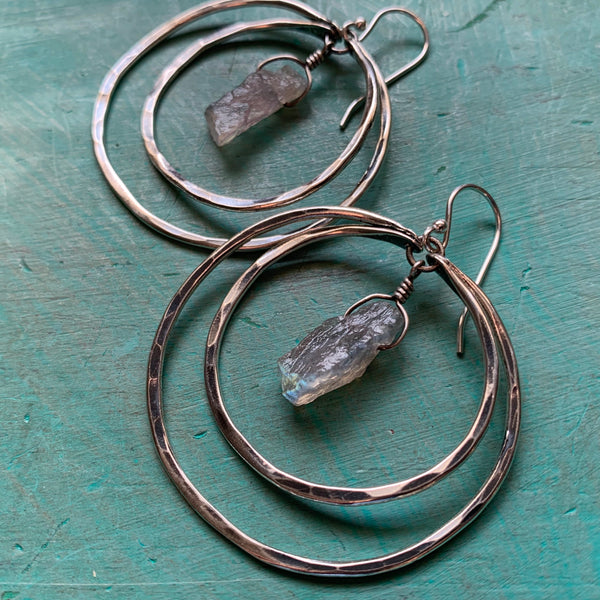 Double Hoop Labradorite Earrings - Medium, Silver