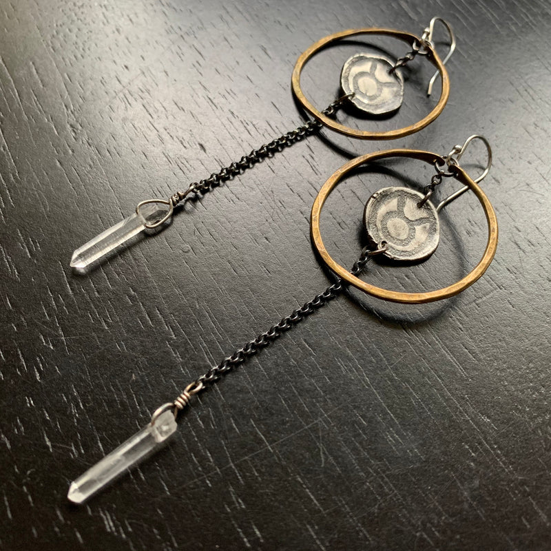 Zodiac Hoops: Sterling Medallion in Small Brass Hoops with Crystal PRE-ORDER