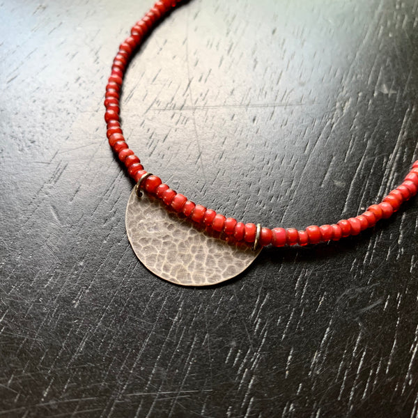 Silver Half Moon Necklace with Red Beads