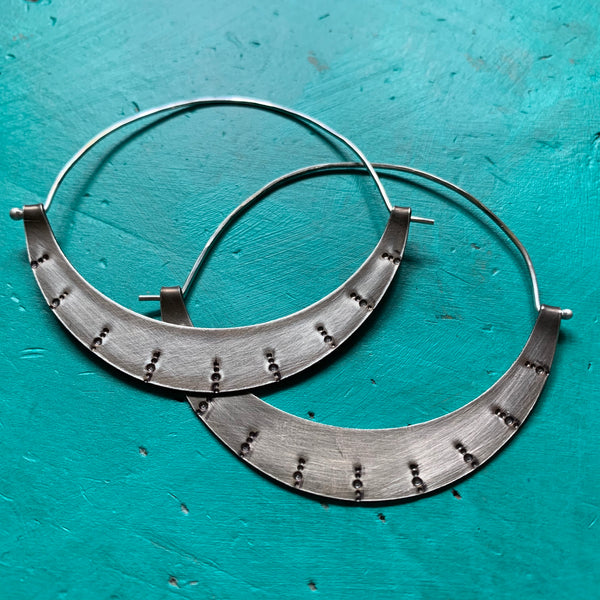 Large Stamped Crescent Hoops - Silver