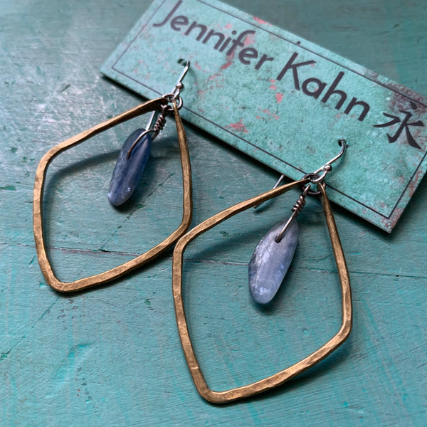 Small Diamond Shape Hoop Earrings with Kyanite