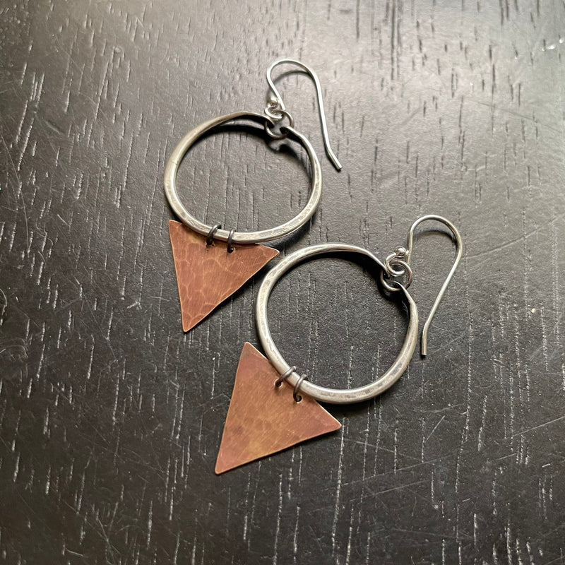 NEW! TINY Geometric Earrings - Tiny SILVER hoops, BRASS triangles!
