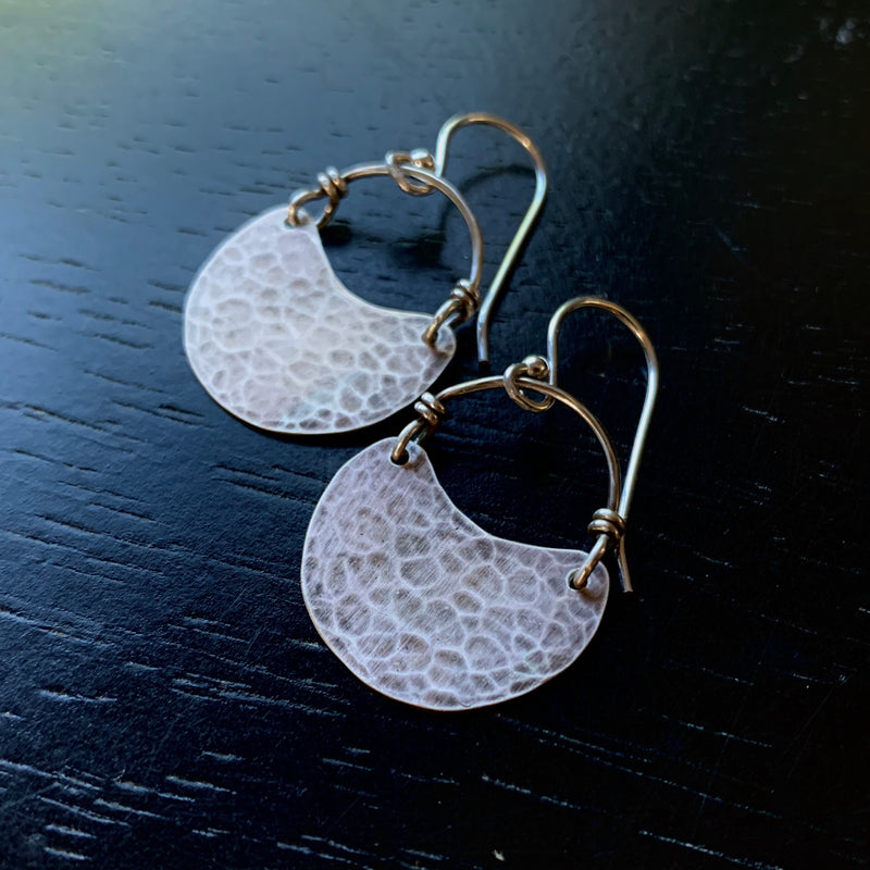 Tiny Silver Crescent Earrings