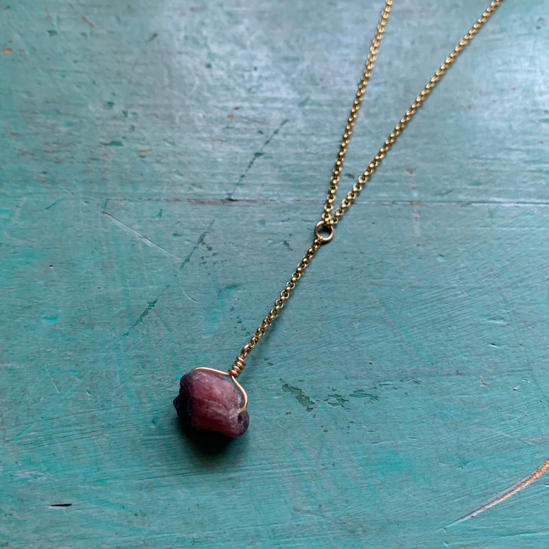 Raw Pink Tourmaline Gold Necklace