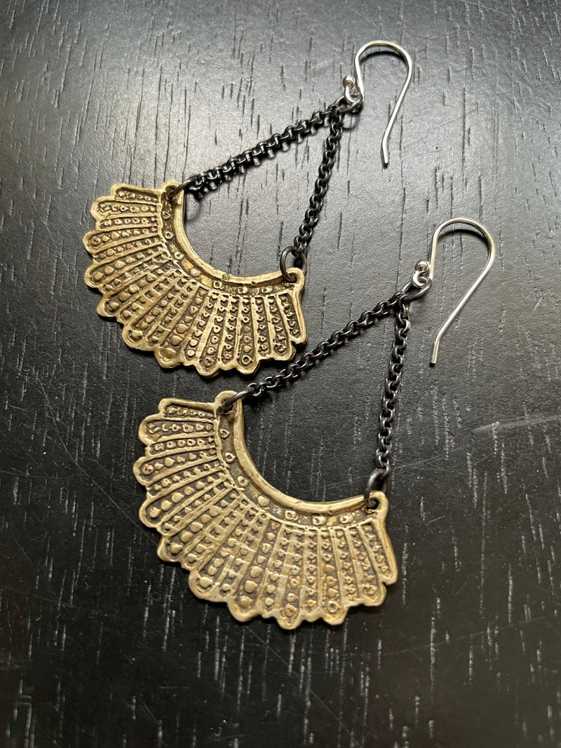 Dissent Earrings - Brass with Chain