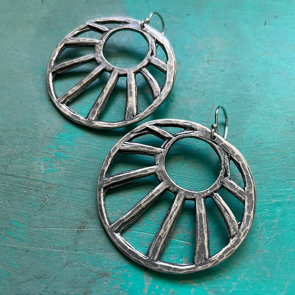 NEW! XL Sterling Open Sun Earrings