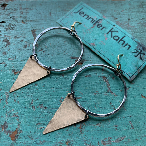 Long Gold Geometric Earrings - Small