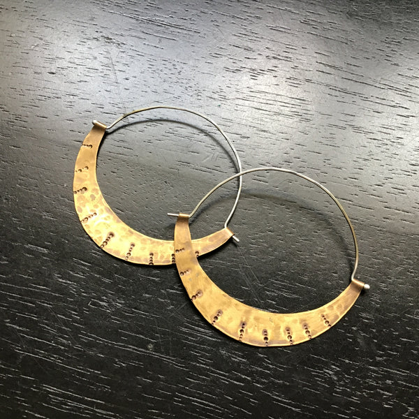 Stamped and Hammered Brass Crescent Hoops - Large