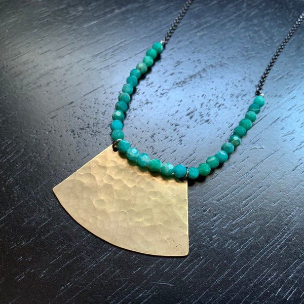 Large Brass Blade Necklace with Amazonite Beads and Chain