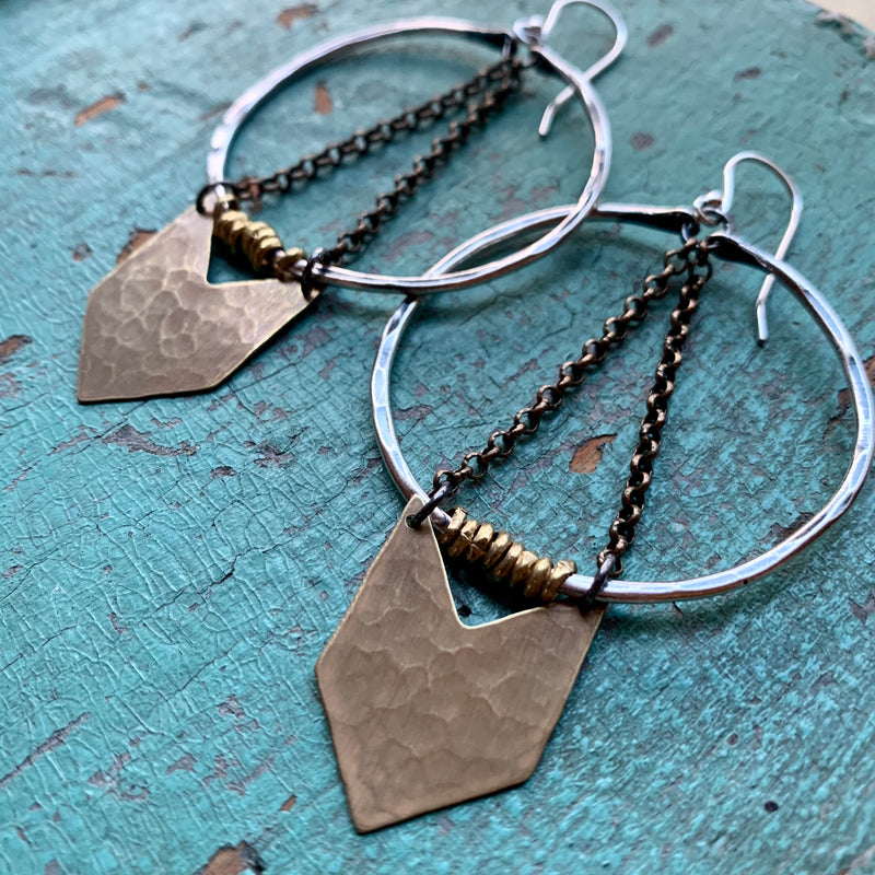 Medium Silver Warrior Earrings with Brass Chevron