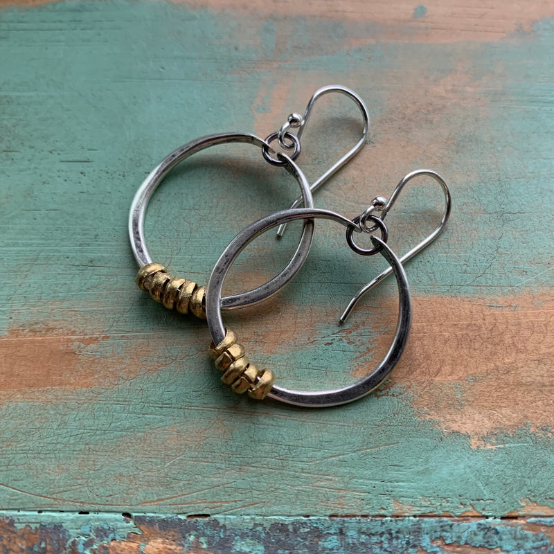 Tiny Silver Hoop Earrings with Brass Heishi