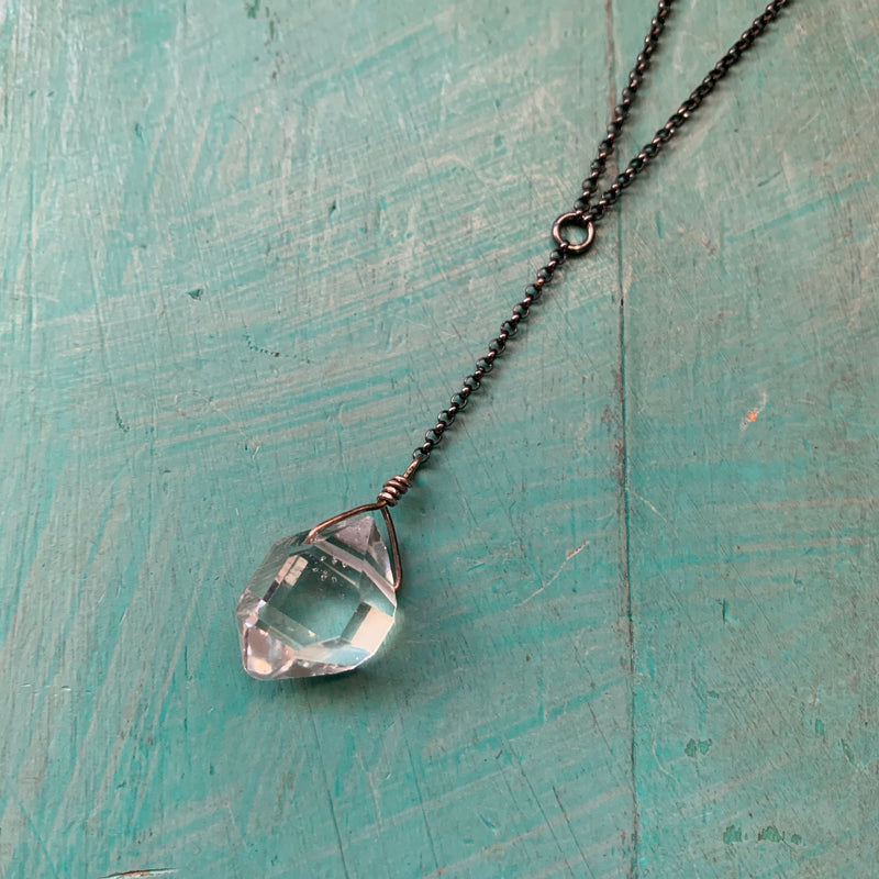 Herkimer Diamond Y Necklace - Sterling