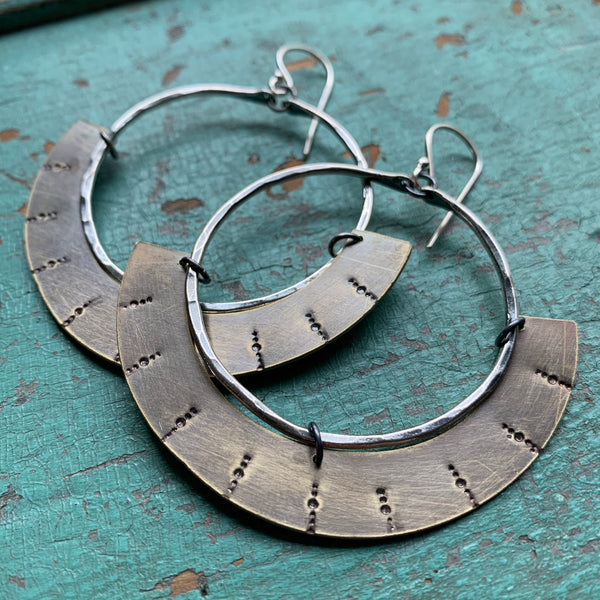 Mezzaluna Earrings - Medium silver hoop, thin stamped brass