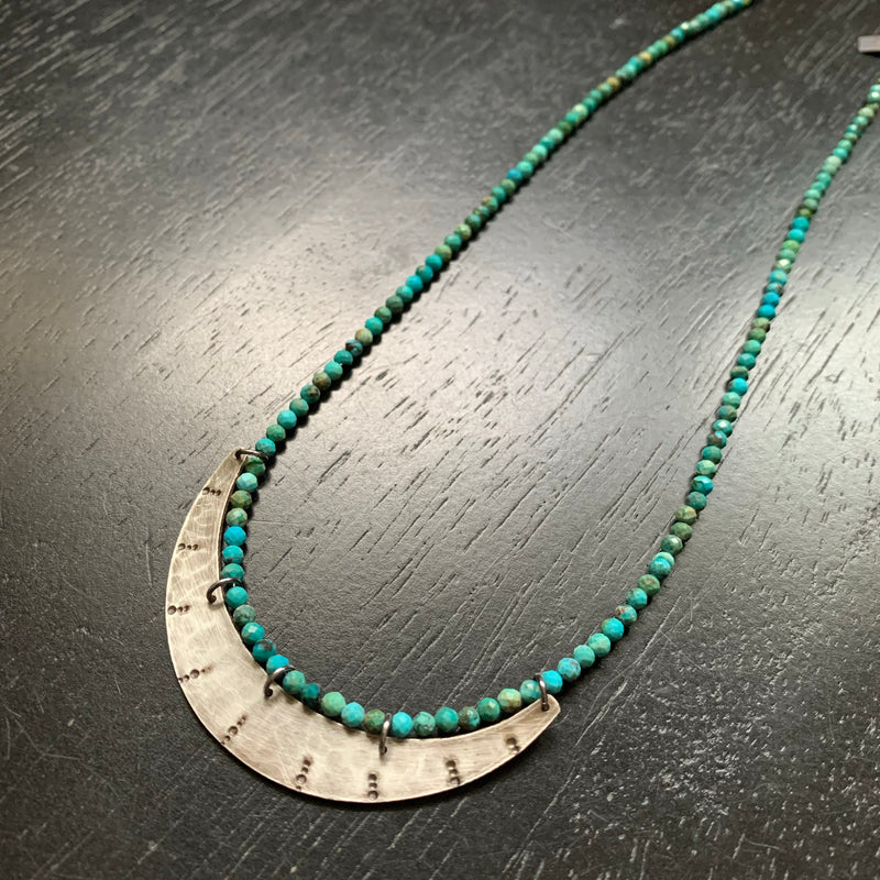 Stamped Silver Crescent Necklace with Turquoise Beads