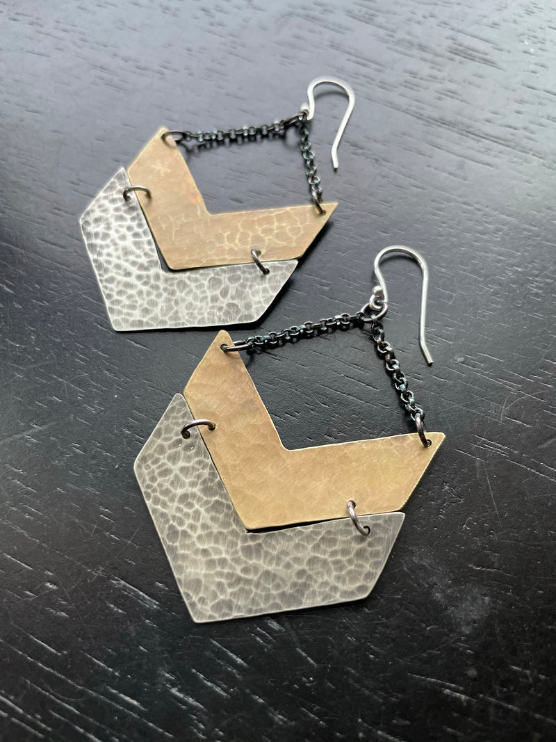 Wide Brass and Silver Chevron Earrings