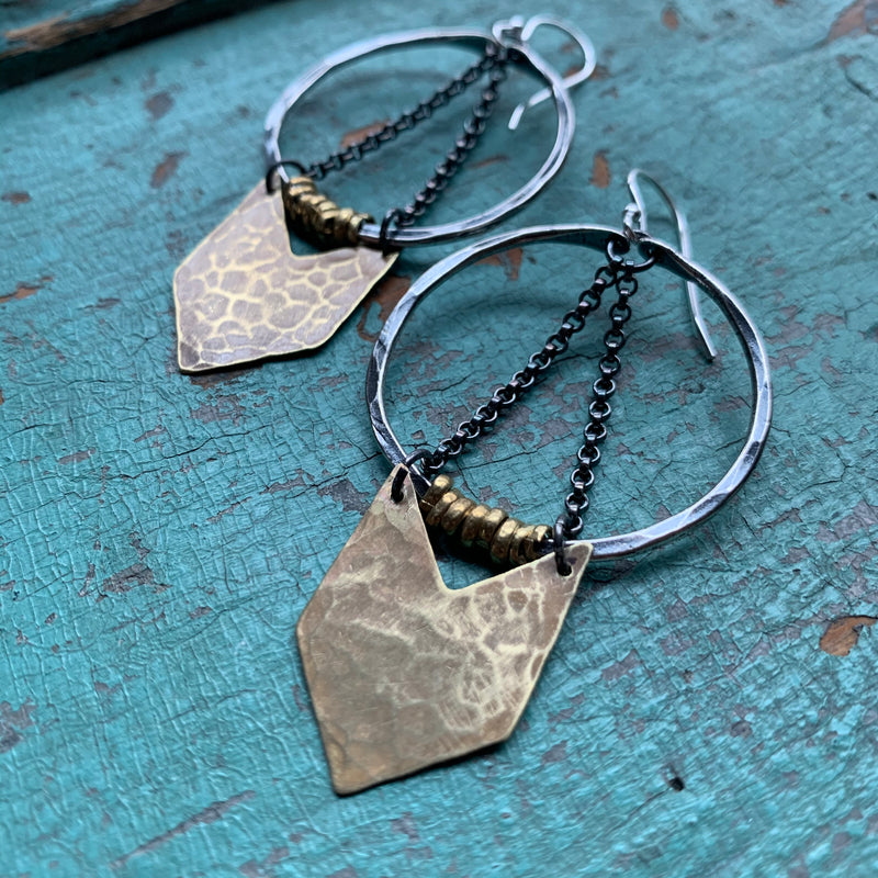 Silver Warrior Earrings w/ Brass Chevron - Small