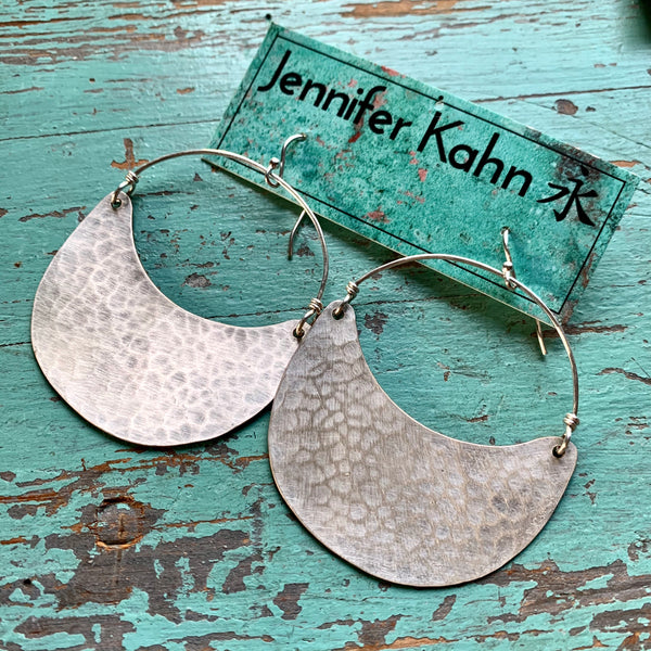 Large Shiny Silver Crescent Earrings - no patina