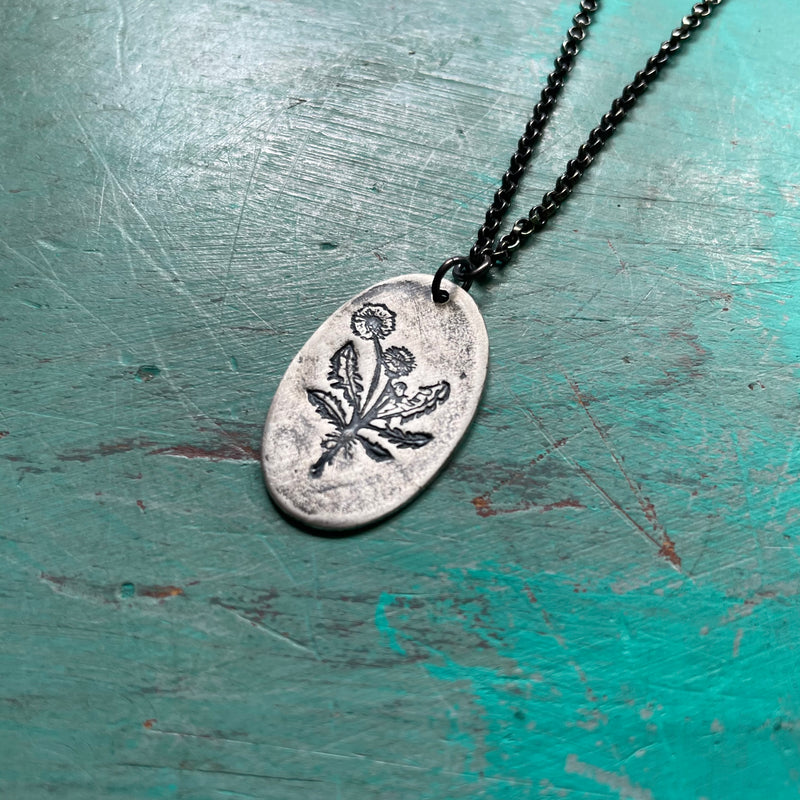 Silver Dandelion Medallion Necklace