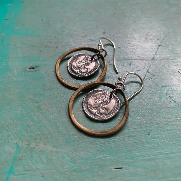 Zodiac Hoops: Sterling Medallion in Tiny Brass Hoops