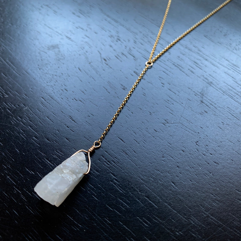 Raw Moonstone Gold Necklace