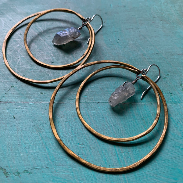 Double Hoop Labradorite Earrings - Large, Brass