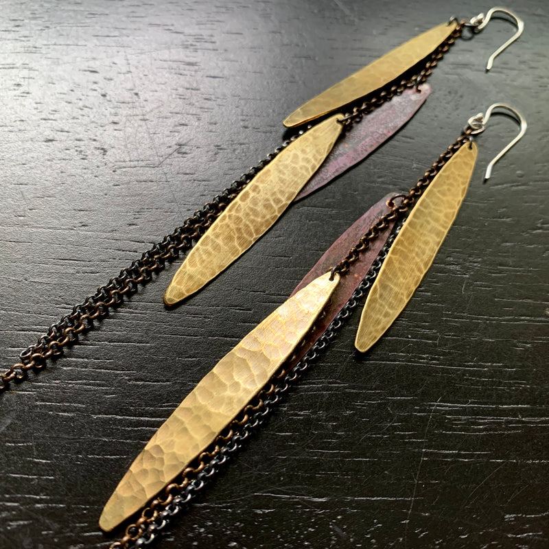 Mixed Metal Feather Earrings