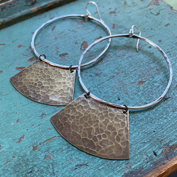 Mezzaluna Earrings - Large silver hoop, hammered light brass shape