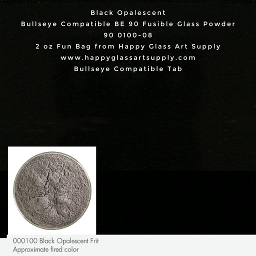 000100-0008-F Black Opalescent Powder Frit, 2oz fun bag Bullseye Compatible Fusible Happy Glass Art Supply www.happyglassartsupply.com