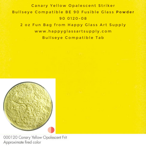 000120-0008-F Canary Yellow Opalescent Striker Powder Frit, 2oz fun bag, Bullseye Compatible Happy Glass Art Supply www.happyglassartsupply.com