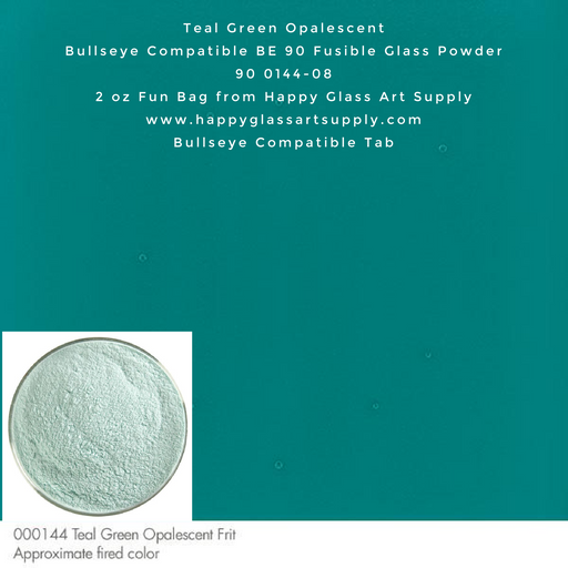 000144-0008-F Teal Green Opal Opalescent Powder Frit, 2oz fun bag Bullseye Compatible Fusible Happy Glass Art Supply www.happyglassartsupply.com