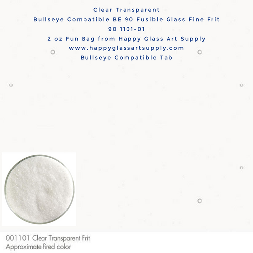 001101-0001-F Clear Transparent Fine Frit BE90 BE 90 Bullseye Compatible Fusible Happy Glass Art Supply www.happyglassartsupply.com