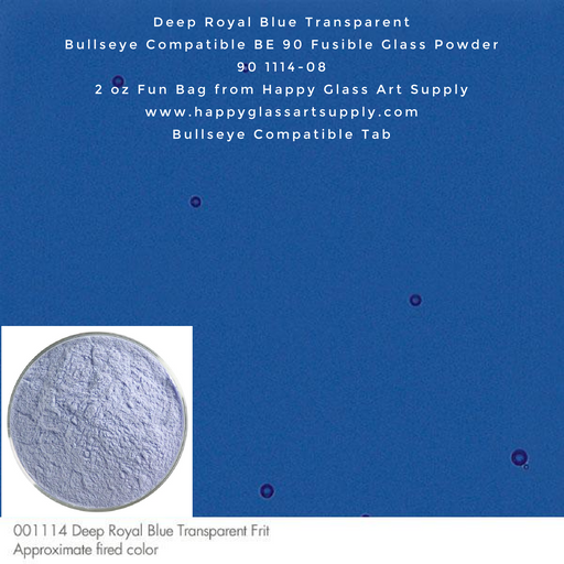 001114-0008-F Deep Royal Blue Transparent Powder Frit, 2oz fun bag Bullseye Compatible Fusible Happy Glass Art Supply www.happyglassartsupply.com