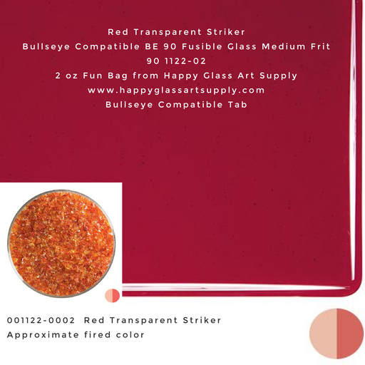 001122-0002-F Red Transparent Medium Frit BE90 BE 90 Bullseye Compatible Fusible Happy Glass Art Supply www.happyglassartsupply.com